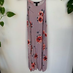 Purple floral mid length dress